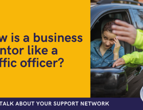 How is a business mentor like a traffic officer?